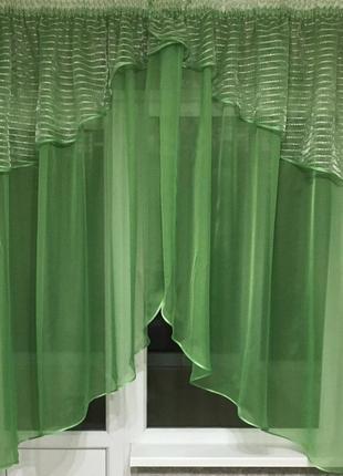 Зеленая тюль на кухню