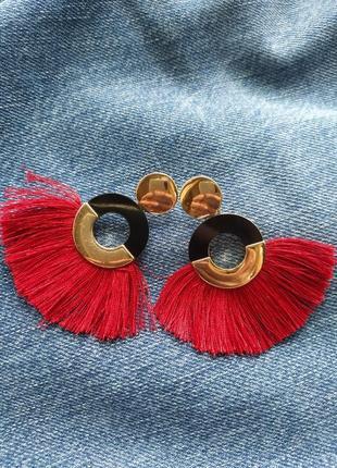 Серьги stradivarius сережки красные с золотом яркие