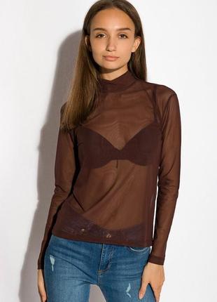 Гольф-сетка женская прозрачная блуза высокое горло