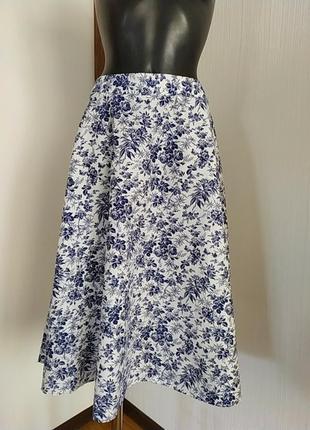 Котоновая юбка клёш в цветочный принт