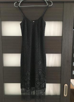 Платье миди с бахромой