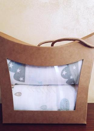 """""""сумочка"""" - подарочный набор из муслиновых пеленочек."""