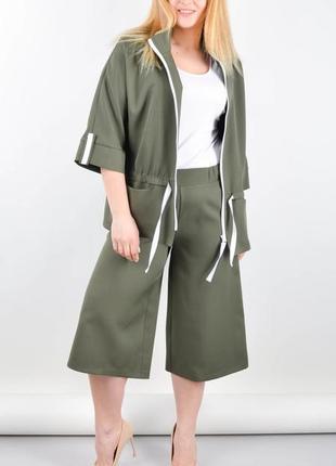 Размеры 50-64! стильный костюм двойка хелен олива, большие размеры!
