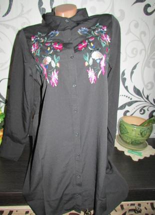Трендовое платье рубашка с вышивкой