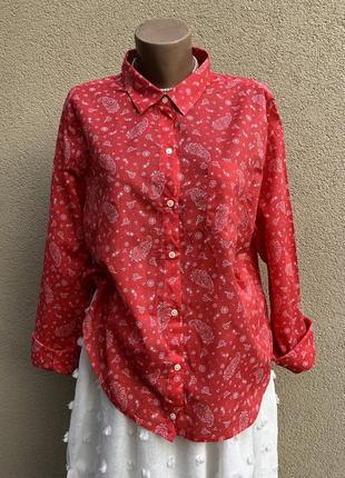 Рубашка,блуза,легкая,воздушная,большой размер,хлопок,принт огурцы,old navy