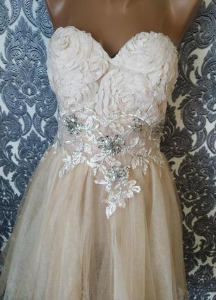 Эксклюзивное выпускное пышное платье бюстье цвет беж фатин 😍💎