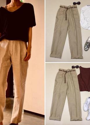 Льняные брюки с защипами и высокой посадкой