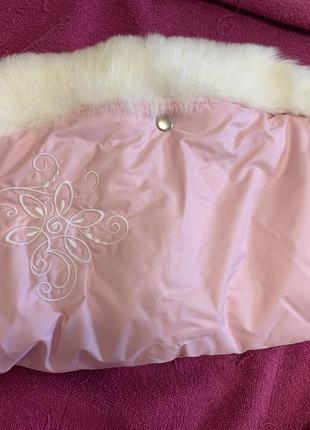 Муфта новая розовая для коляски санок