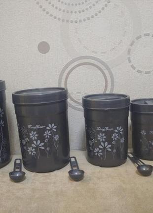 Набор емкость емкостей для сыпучих круп спецый контейнер банка сипучих