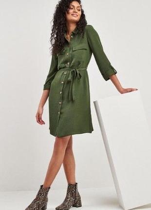 Платье рубашка хаки оливковое
