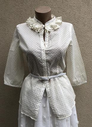 Легкая,воздушная,чуть прозрачная блузка в горошек,рубаха с жабо, saint tropez
