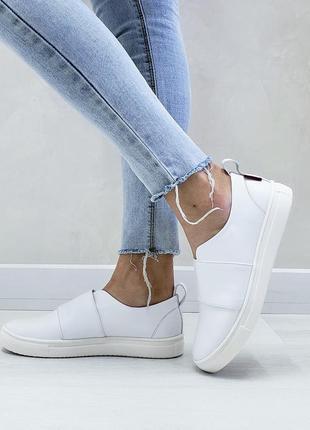 Слипоны из натуральной кожи мокасины кеды балетки белые свадебные лоферы туфли удобные