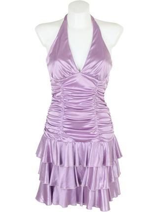 Сиреневое драпированное платье
