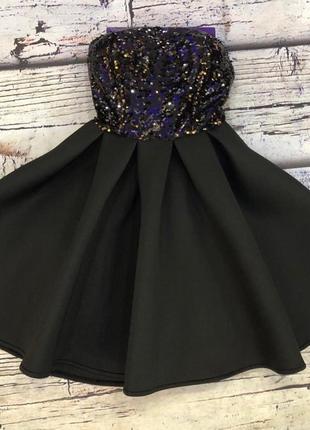 Платье неопрен с золотом