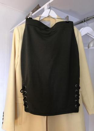 Новая юбка с высокой талией хаки