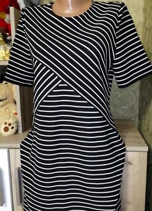 Платье в полоску, размер 12,состояние нового