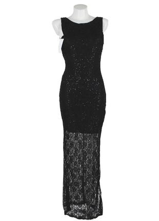 Черное вечернее платье с полупрозрачным низом