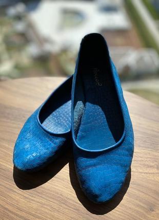 Туфли roccop синие кожаные