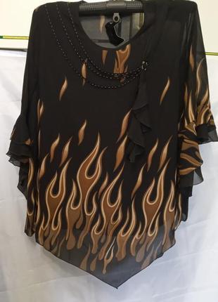 Женская красивая блузка в пламя. нарядная кофточка большого размера