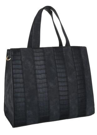 Большая сумка тоут, экозамша с экокожей под рептилию (европа) черный