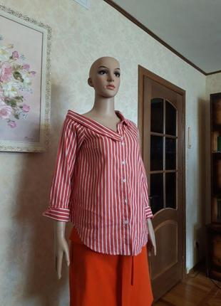 Рубашка с асимметричным воротом. topshop