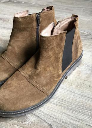 Мужские замшевые ботинки челси с замком из натуральной кожи