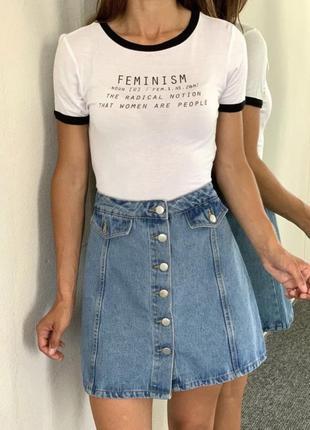 Джинсовая юбка трапеция на пуговицах denim co