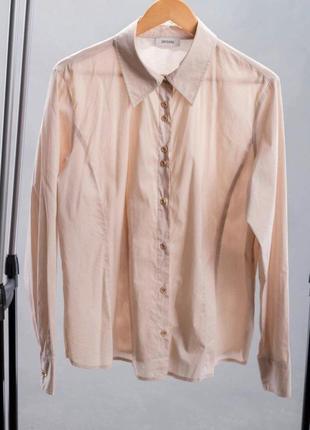 Хлопковая бежевая блуза рубашка