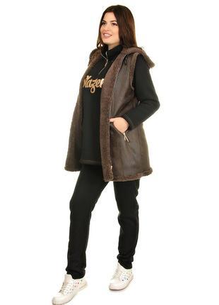Зимний теплый костюм тройка из пальтовой ткани на меху и трикотажа трехнитка (310)