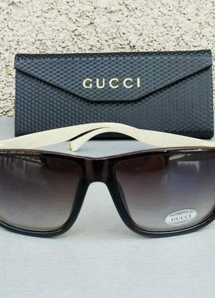 Gucci очки мужские солнцезащитные коричневые с золотыми дужками