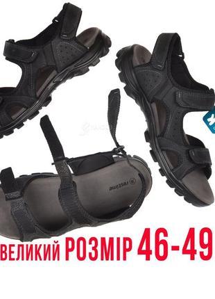 Сандалии мужские кожаные спортивные in black черные на липучках