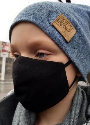 Защитная 3-х слойная тканевая многоразовая маска из хлопка детская 😷