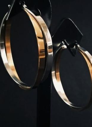 """Серьги кольца """"мультиколор"""". позолота родий + ro (rose gold). xuping, бижутерия 585 проба"""