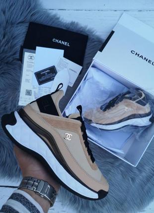 Женские шикарные кроссовки chanel / шанель новая коллекция натуральные материалы