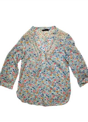 Батистовая летняя блузка рубашка туника zara woman /1256/