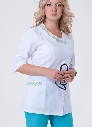 Костюм медицинский с вышивкой, батист, р. 40-56; женская медицинская одежда, 892254