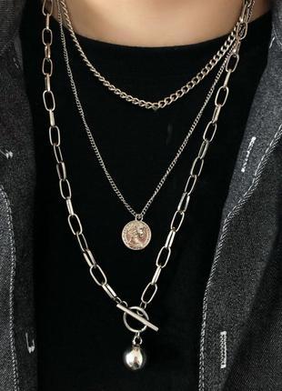 Цепочка 3 цепи колье ожерелье с кулоном монеткой новая качественная под серебро