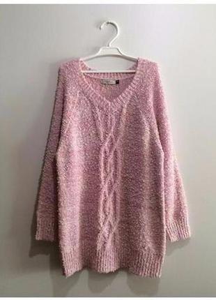 Розовый с белым пушистый свитер вязаный травка, поп-корн1