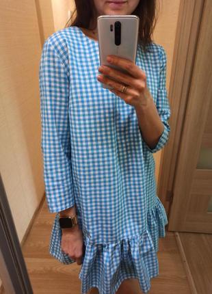 Платье в клеточку zara , голубое с белым