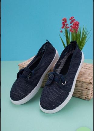 Синие кроссовки из текстиля сетка летние мокасины кеды балетки