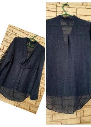 Женская блуза с бантом цвета джинс,на высокий рост
