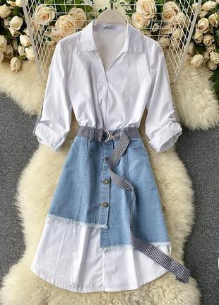 Платье рубашка с джинсовой юбкой, длинная рубашка, которая выглядывает из-под юбки