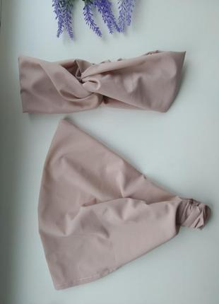 Комплект летняя косынка и повязка на голову чалма шифон софт