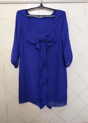 Платье  шифоновое синие с бантом. бант на спине.