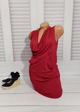 Туника, платье красное с хомутом, s/m