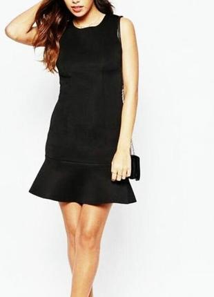 Идеальное черное платье по фигуре с вставками имитации под кожу от promod