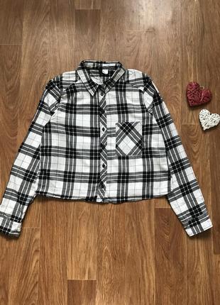 Стильная рубашка в клетку h&m размер s-m