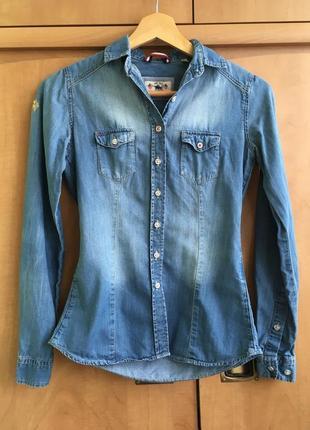 Рубашка u.s. polo assn. женская оригинал голубая s xs хлопок синяя