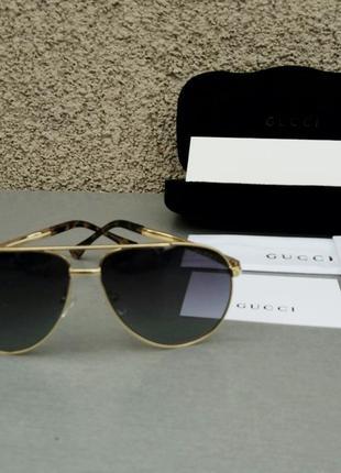 Gucci очки капли мужские солнцезащитные черные в золотой металлической оправе