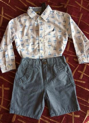 Костюм: рубашка+шорты, nautica, 18 мес.